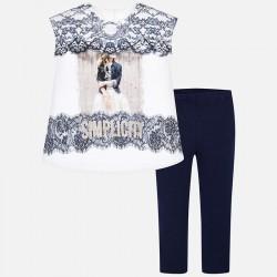 Komplet Mayoral 6704-20 Komplet koszuli i leginsów z elementami z koronki dla dziewczyny