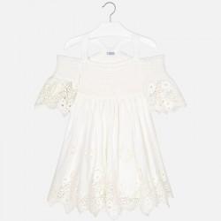 Sukienka Mayoral 6935-80 Sukienka z okrytymi ramionami z haftami dla dziewczyny