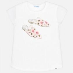 Bluzka Mayoral 6002-42 Koszulka z krótkim rękawem z nadrukiem butów dla dziewczyny