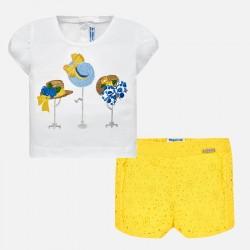 Komplet Mayoral 1236-45 Komplet koszulka z bermudami ażurowymi dla dziewczynki Baby