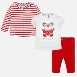 Komplet Mayoral 1742-64 Komplet żakiecik z koszulką Miś i leginsami dla dziewczynki Baby