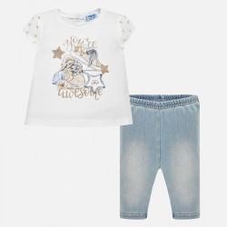 Komplet Mayoral 1746-61 Komplet koszulka i leginsy jeansowe dla dziewczynki Baby