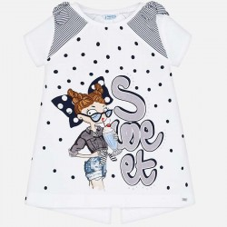 Bluzka Mayoral 3005-91 Koszulka z krótkim rękawem z kokardkami dla dziewczynki