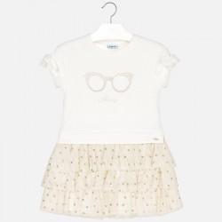 Sukienka Mayoral 3939-28 Sukienka łączona z tiulem i nadrukiem dla dziewczynki
