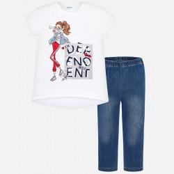 Komplet Mayoral 6703-24 Komplet jeginsów i koszuli z nadrukiem lalki dla dziewczyny