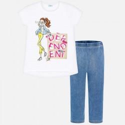 Komplet Mayoral 6703-25 Komplet jeginsów i koszuli z nadrukiem lalki dla dziewczyny