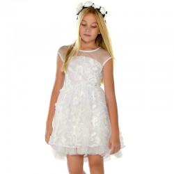 Sukienka Mayoral 6913-86 Sukienka z tiulu z haftowanymi kwiatami dla dziewczyny
