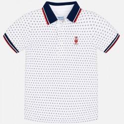Bluzka Mayoral 3116 kolor 12 Koszulka polo z krótkim rękawem we wzorki dla chłopca