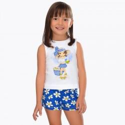 Komplet Mayoral 3222-95 Komplet koszulka i wzorzyste szorty dla dziewczynki