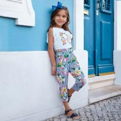Spodnie Mayoral 3504-37 Długie spodnie z nadrukiem kwiatów dla dziewczynki