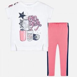 Komplet Mayoral 3707-91 Komplet koszulka i leginsy z bocznym paskiem dla dziewczynki