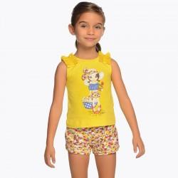 Komplet Mayoral 3222-94 Komplet koszulka i wzorzyste szorty dla dziewczynki