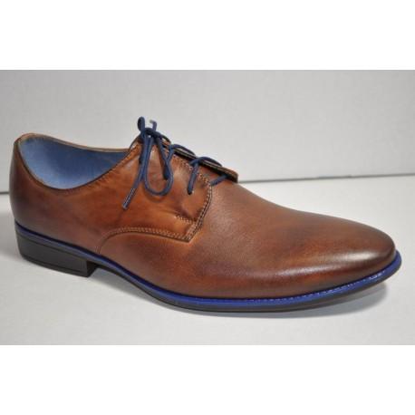Buty komunijne chłopiece 560 brązowe z niebieskim r32-41