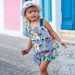 Kombinezon Mayoral 3805-31 Krótki kombinezon we wzory z falbankami dla dziewczynki