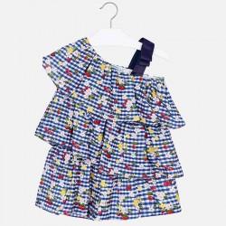 Kombinezon Mayoral 3805-32 Krótki kombinezon we wzory z falbankami dla dziewczynki