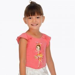 Bluzka Mayoral 3001-19 Koszulka z krótkim rękawem z nadrukiem dla dziewczynki