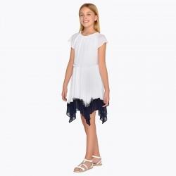 Sukienka Mayoral 6945-91 Sukienka dwukolorowa z asymetrycznym dołem dla dziewczyny