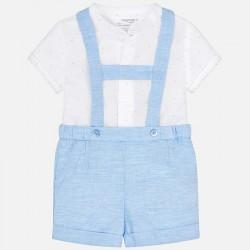 Komplet Mayoral 1208-35 Komplet koszula i szorty z szelkami dla chłopca Newborn