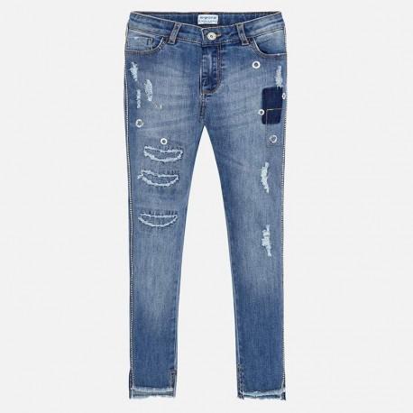 Spodnie Mayoral 6503-71 Długie spodnie jeansowe z aplikacjami dla dziewczyny