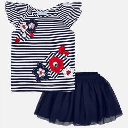 Komplet Mayoral 3960-50 Zestaw koszulka w paski i spódnica z tiulu dla dziewczynki
