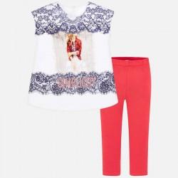 Komplet Mayoral 6704-21 Komplet koszuli i leginsów z elementami z koronki dla dziewczyny