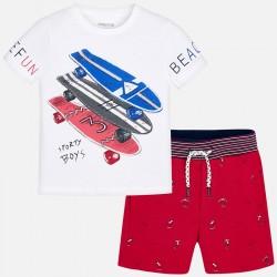Komplet Mayoral 3605-52 Komplet koszulka z bermudami we wzory dla chłopca