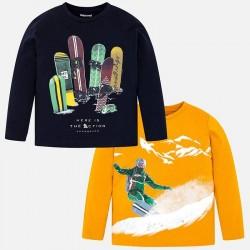 Bluzki 2szt Mayoral 4021-88 Zestaw koszulek z nadrukiem dla chłopca