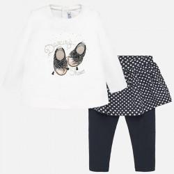 Komplet 2szt Mayoral 2748-86 z leginsami ze spódniczką i koszulką dla dziewczynki Baby