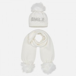 Mayoral 10700-38 Komplet czapka z nadrukiem i szalik dla dziewczynki