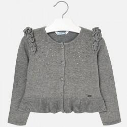 Mayoral sweterek 4328-41 rozpinany z dzianiny z falbanką
