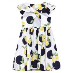 Sukienka Mayoral 2909-87 trykotowa z tiulem kremowa
