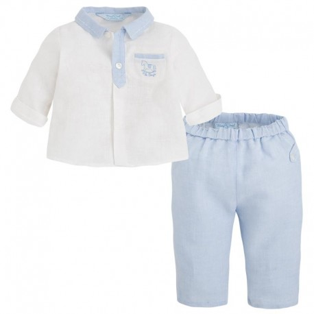 Lniany elegancki strój Mayoral długie spodnie 1503 kolor 011