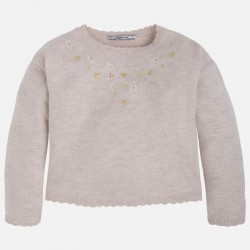 Mayoral szary swetr kwiaty 4312 -70